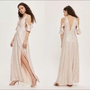 TOPSHOP Blush Pink Maxi Dress Cold Shoulder Foil
